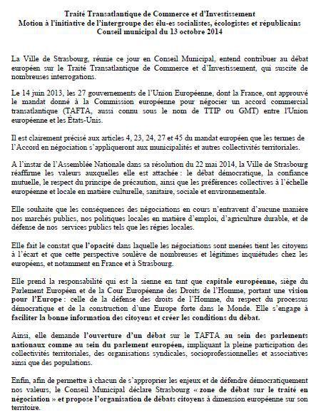 Strasbourg motion tafta